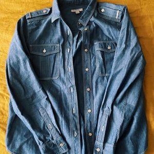 Burberry Brit Denim Checkered Sleeve Jacket